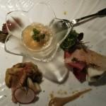 紅葉鯛とカニを使った前菜