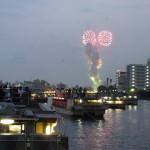 屋形船の屋根の上から花火見物