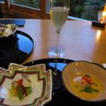 和食前菜にシャンパンを