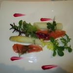 アスパラと桜鱒の前菜