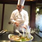 横山シェフと魚料理材料