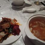前菜とフカヒレスープ